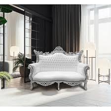 canape baroque baroque rococo 2 places simili cuir blanc et bois argenté