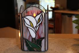 the stained glass candle box holdercalla lily flowergift for