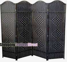 Wicker Room Divider Wicker Handwoven 4 Part Panel Partition Room Divider Screen Black