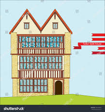 Tudor Style House Threestory Tudor Style House Large Windows Stock Vector 180198965