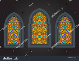 stained glass ancient ornamental windows stock vector 657325591