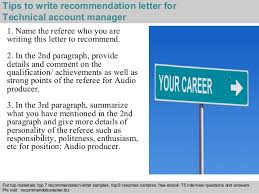 technical account manager recommendation letter