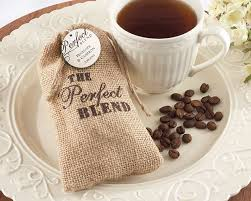 coffee wedding favors the blend burlap bag with coffee matching personalized