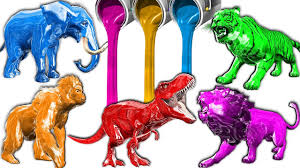 learning colors with wooden animals color toy paint for children