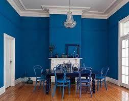bold blue interior paint color for dining room interior paint