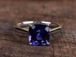 natural tanzanite rings images Vs natural tanzanite engagement ring white gold 9mm cushion cut jpg
