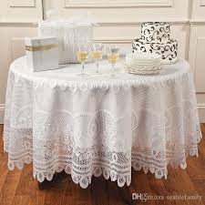 lace vinyl table covers white polyester lace jacquard lace tablecloth rose table cover round