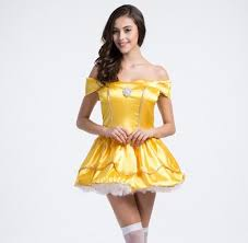 Belle Halloween Costume Women Golden Yellow Strapless Princess Tutu Skirt European Export