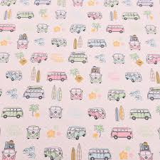 Colourful Upholstery Fabric Retro Vw Camper Van Car Multi Coloured Childrens Cushion Blind