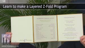 folded wedding program layered z fold wedding program
