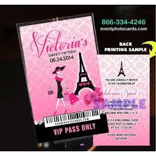 eiffel tower invitations eiffel tower pink vip pass backstage invitations