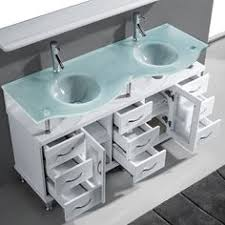 double ceramic sink artificial stone top white 59 inch bathroom