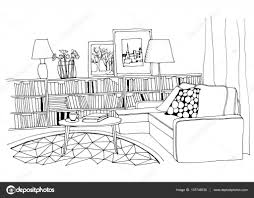hand drawn sketch of modern living room interior with a sofa