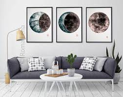 modern living room art moon painting etsy