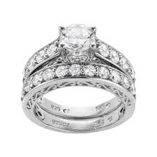 simulated engagement ring sterling silver 3 29 ct t w simulated ring set