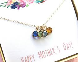 s day necklace with birthstone charms custom birthstone etsy