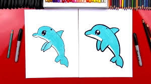 how to draw a cartoon dolphin art for kids hub