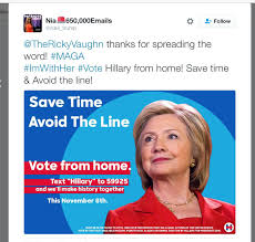 Text Meme - fake meme ads are telling people to text to vote for clinton