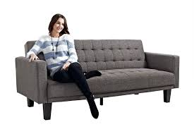 Reviews Of Sleeper Sofas Dhp Sofa Sleeper Tufted Linen Upholstery With