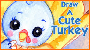 how to draw a turkey kawaii step by step narrated