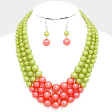 pearl bead necklace images Beautiful multi strand pink green pearl bead necklace jpg