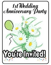 1st year wedding anniversary 3 year wedding anniversary party printable invitations