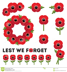 elements red poppies remembrance day stock vector image 58115780
