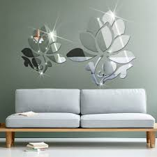 mirror decals home decor 3d lotus flowers mirror wall mirror stickers for wall decoration