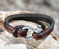 leather bracelet clasp images Brown leather bracelet with nautical omega shackle clasp jpg