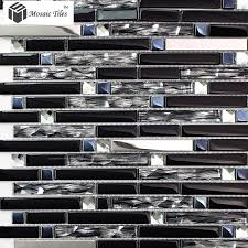 TST Glass Mental Tile Silver Stainless Steel Porcelain Base - Glass and metal tile backsplash