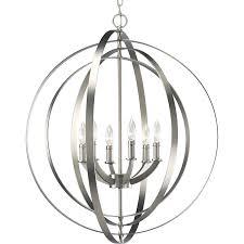 Silver Chandelier by Shop Progress Lighting Equinox 27 75 In 6 Light Burnished Silver