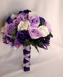 silk flowers for wedding silk purple bridal bouquets package custom for helen white