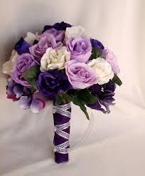 wedding flowers purple silk purple bridal bouquets package custom for helen white