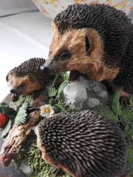 country artists hedgehog family in ornaments