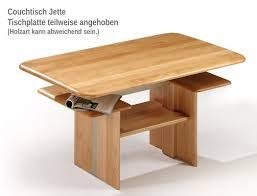 Wohnzimmertisch Lift Couchtisch Jette 120x70x55 Cm Höhenverstellbar Buche Massiv Tisch