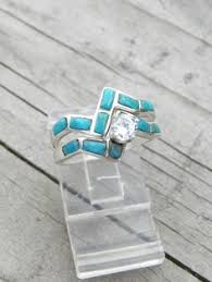 Turquoise Wedding Rings by Turquoise Engagement Ring With Turquoise Wedding Band Patrick