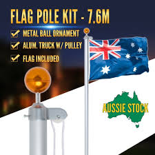 Flag Pole Repair 7 6m Australian Flag Pole Kit Aluminium W Pulley System Aussie