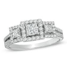 princess cut engagement rings zales 1 ct t w princess cut three past present future