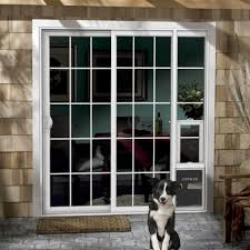 Pet Door For Patio Door by Jeld Wen 72 In X 80 In White Right Hand Vinyl Patio Door With Dog