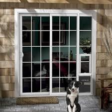 sliding glass door with doggie door jeld wen 72 in x 80 in white right hand vinyl patio door with dog