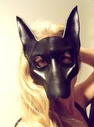 black jackal or pharaoh hound leather mask anubis by teonova on