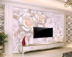 beibehang 3d pink pearl three flowers jewelry background wall 3d