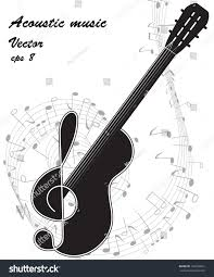 black silhouette guitar treble clef on stock vector 160356695