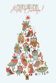 owl christmas owl christmas tree winter holidays postcards postallove