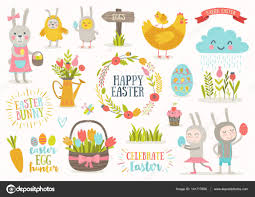 set of cute easter cartoon characters and design elements easter