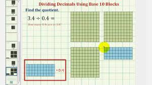 ex determine the quotient of two decimals using base ten blocks
