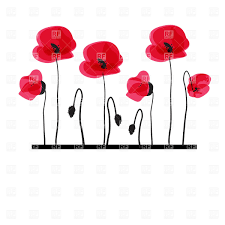 six stylized poppies on white background vector clipart image