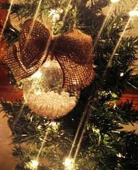 pearls christmas ornament vintage burlap by shabbyworks