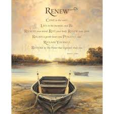 renew print featuring of row boat on a lake with a quote by