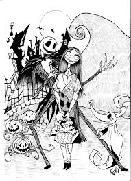 christmas coloring pages for grown ups jack and sally coloring pages regarding nightmare before christmas